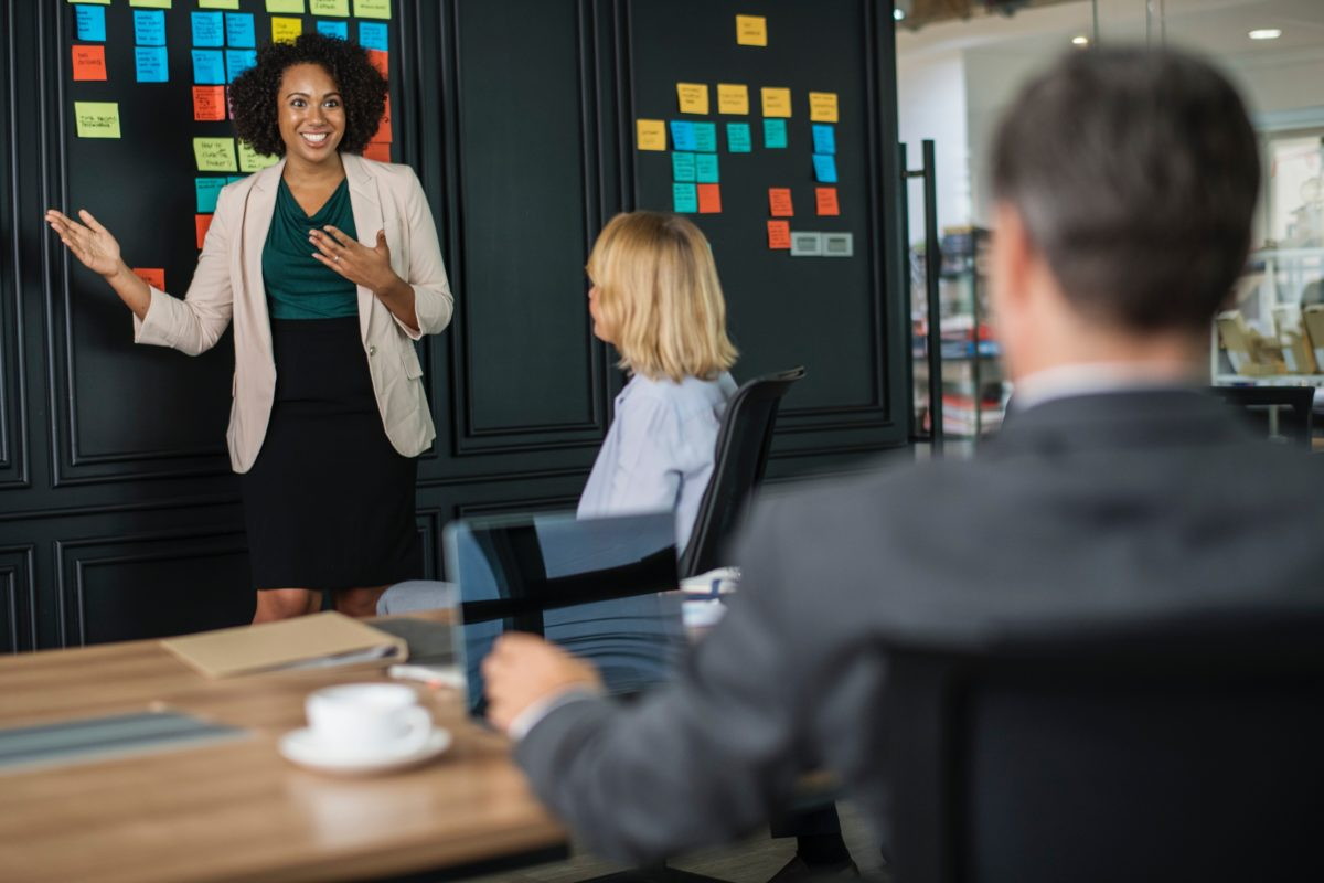 Woman presenting meeting